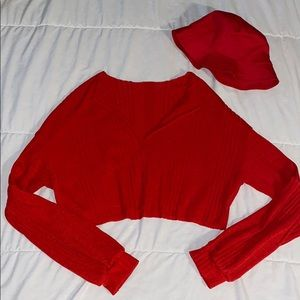 SHEIN Red Cropped Long-Sleeve